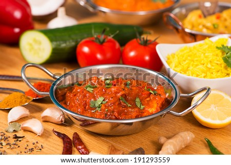 Indian food chicken jalfrezi curry balti stock photo 191293559 indian food chicken jalfrezi curry in balti dish decoration set of vegetables forumfinder Gallery