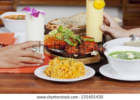 Indian food chicken tandori - stock photo
