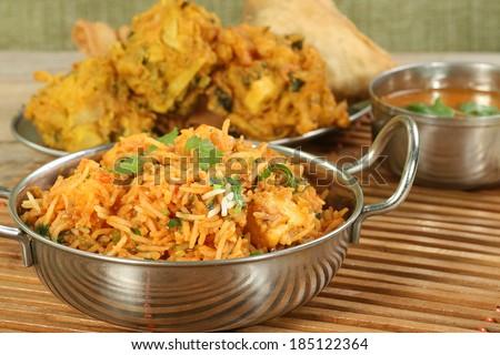 indian food dish of panir biryani                              - stock photo