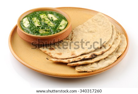 Indian food palak paneer with roti or Indian bread