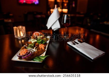 indian food with wine in a background - stock photo