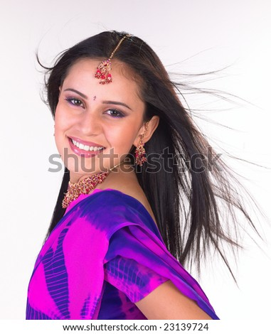 indian girl expressing her joy - stock photo