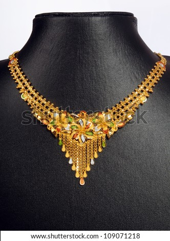 Indian Gold Necklace - stock photo