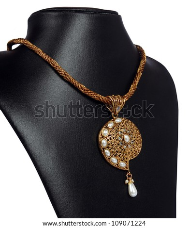 Indian Gold Necklace with Pearls - stock photo