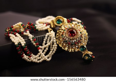 Indian Gold Pearl Necklace - stock photo