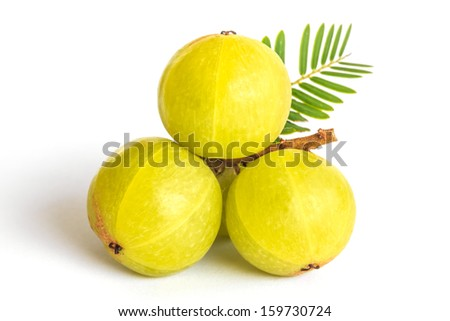 Indian gooseberries on white background - stock photo