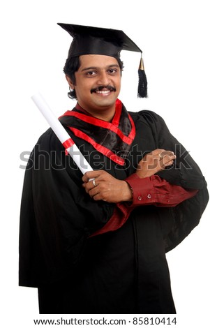 Indian graduate on white background.