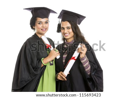 Indian graduation young woman's on white background.