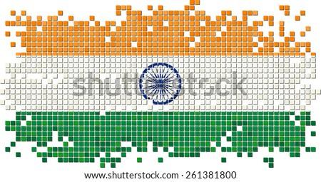 Indian grunge tile flag. Raster version - stock photo