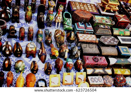 Indian handicrafts for sale in jaisalmer street Rajasthan India