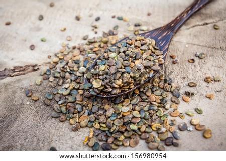 Indian hemp or Madras hemp seed(Crotalaria juncea) on wooden spoon - stock photo