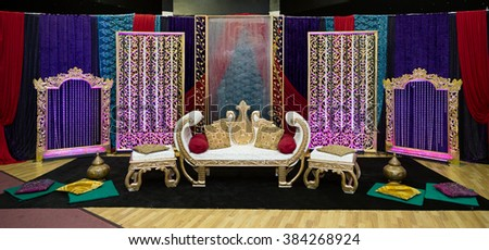 indian henna party wedding stage - stock photo