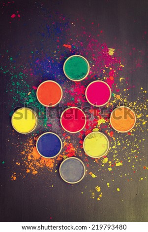 Indian Holi festival colours. Instagram-like filtered - stock photo