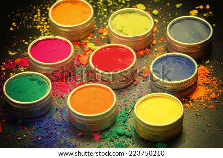 Indian Holi festival colours. Instagram-like filtered - stock photo