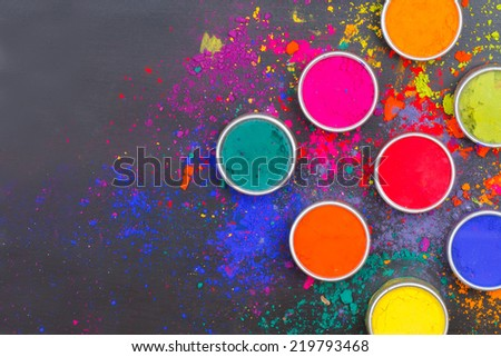 Indian Holi festival colours with text space - stock photo