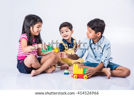 Indian Kids Playing With Block Toys Asian Small Indoor Games Colorful Plastic