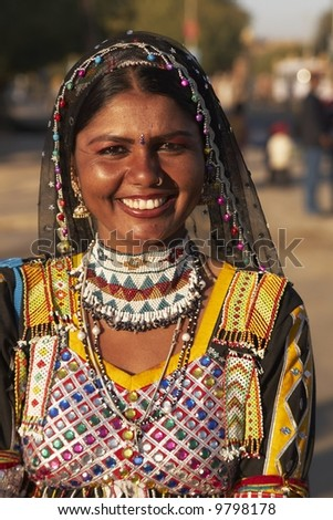 Indian lady kalbelia dancer dressed at the Desert Festival, Jaisalmer, Rajasthan, India - stock photo