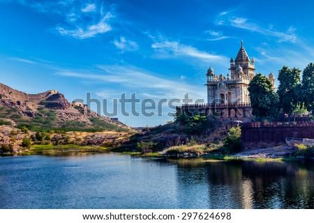 Indian landmark Jaswanth Thada mausoleum, Jodhpur, Rajasthan, India - stock photo