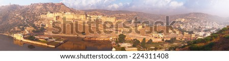 Indian landmarks - panorama with Amber fort, lake and the city. Jaipur, Rajastan - stock photo