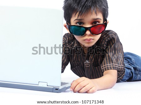 Indian Little Boy Posing to camera with 3d Glasses - stock photo