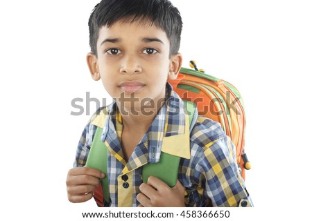 Indian little boy with back bag