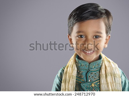 Indian Little Boy with Traditional Dress - stock photo