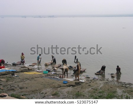 Indian live their morning life with Ganga river on April 25, 2015 in Varanasi, India