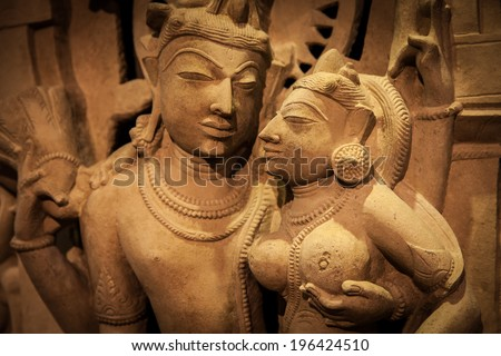 Indian lovers in tantric position, north-west India original manufact, 10-11 century - stock photo