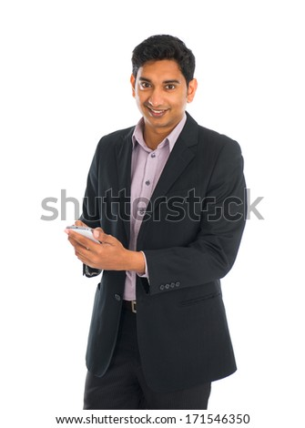 indian male business man surfing with phone with white background - stock photo