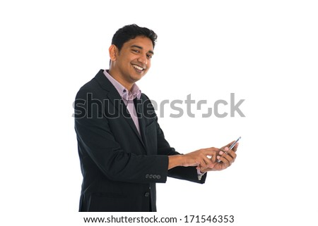 indian male business man surfing with phone with white background