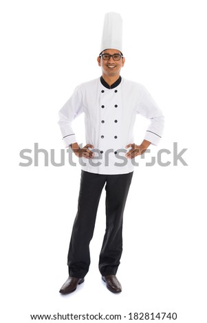 indian male chef isolated on white background - stock photo