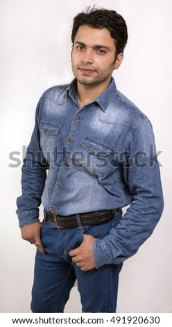 indian male model in blue jeans front side pose