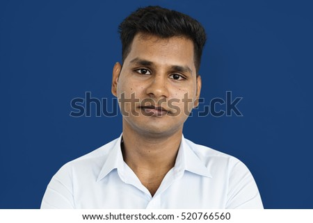 Indian Man Casual Standing Thinking Portrait Concept
