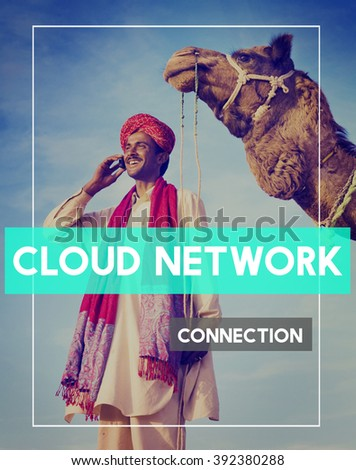 Indian Man Global Connection Networking Concept - stock photo