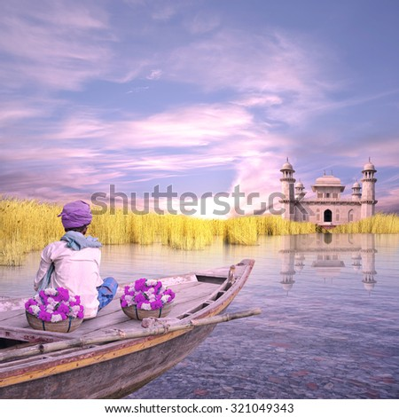 Indian man with flowers on his boat.