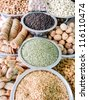 Indian Market Stall Selling Ingredients. Spice market. - stock photo