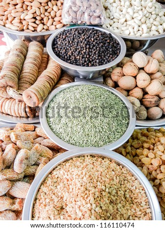 Indian Market Stall Selling Ingredients. Spice market.