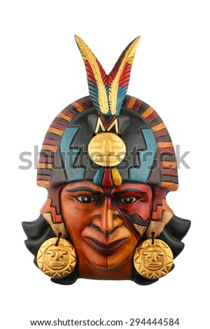 Indian Mayan Aztec ceramic painted mask with feather isolated on white - stock photo
