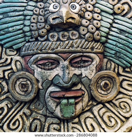 Indian mayan carved in stone  - stock photo