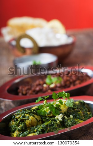 indian murgh palak curry dish - stock photo