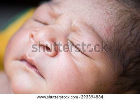 Indian new born baby boy closeup Salunkwadi, Ambajaogai, Beed, Maharashtra, India, South East Asia