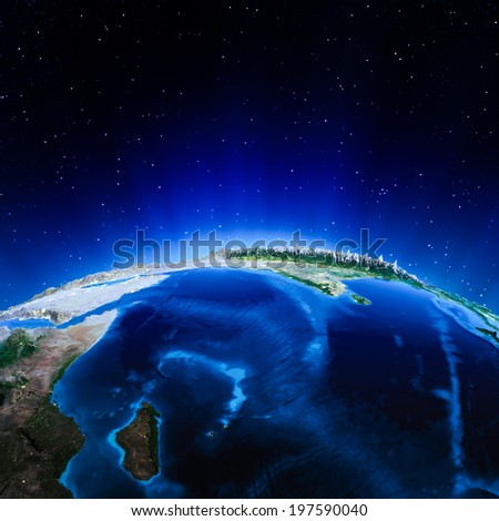 Indian Ocean. Elements of this image furnished by NASA - stock photo