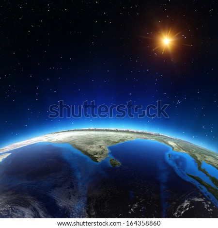 Indian ocean from space. Elements of this image furnished by NASA - stock photo