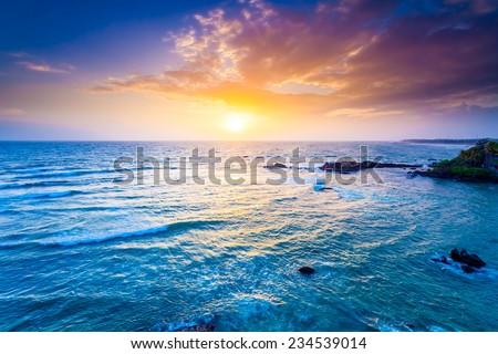 Indian ocean on sunset. Sri Lanka, Galle Fort - stock photo
