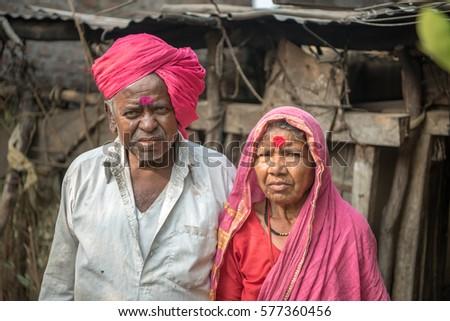 Indian old couple closeup rural village salunkwadi ambajogai maharashtra india southeast