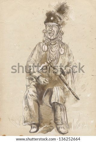 Indian old military veteran singing sad songs and holding in his hand tomahawk. /// A hand drawn illustration. - stock photo