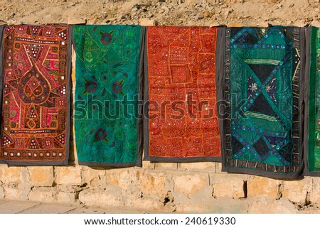 Indian patchwork quilt in Rajasthan, Asia - stock photo