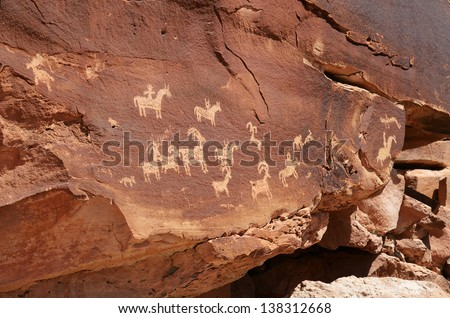 Indian Petroglyphs Near Wolfe Ranch in Arches National Park - stock photo