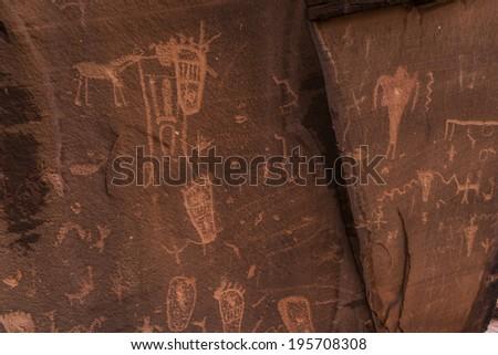 Indian Petroglyphs on Birthing Rock - Hurrah Pass Utah - stock photo