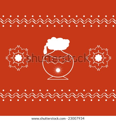 Indian Pongal festival with pongal pot and artistic designs - stock photo